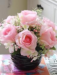 "9.5 ""h europäischen rurall Stil Simulation australien Rosen mit schwarzen Kugel Wellpappe Keramikvasen multi-color optional"