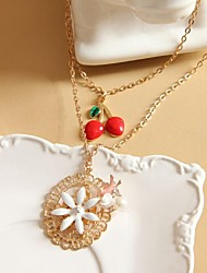 Winter Cherry Sweater Chain Long Multilayer Golden Bird Pearl Necklace