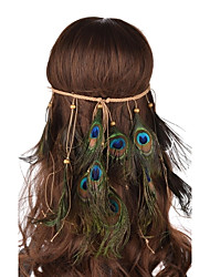 Lureme® Bohemian  Weave Wooden Beads Peacock Feather Hair Accessories