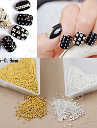 2000PCS Personality Punk Manicure Beads Golden And Silver Nail Art  Powder Beads
