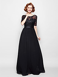 A-line Plus Size / Petite Mother of the Bride Dress Floor-length Half Sleeve Chiffon / Lace with Lace / Sash / Ribbon