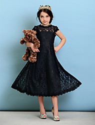 Tea-length Lace Junior Bridesmaid Dress - Black A-line / Princess Jewel