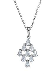 """925 Sterling Silver Pear-Cut AAAAA Grade Cubic Zirconia CZ Pendant Necklace, 18"""""""
