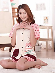 Women's Open Chest Short-Sleeved Cotton Cartoon Bear Three Comfortable Leisure Wear Suits