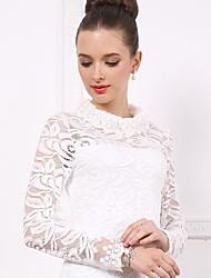 Women's Mock Neck Elegant Solid Color Cut Out Lace Basic