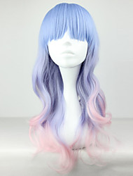 The New Wig Anime Characters Blue And Pink Gradient Curly  Hair Wigs