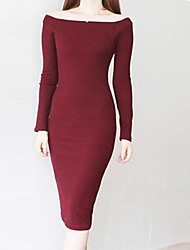 Women's Vintage Sexy Casual Cute Long Sleeve Knee length Dress