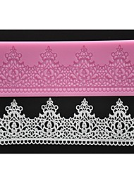 FOUR-C Silicone Lace Mat Decor Cake Pad Textured Cake Mold Color Pink