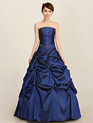 Formal Evening Dress Ball Gown Strapless Ankle-length Satin with Pleats / Sequins