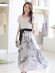 Women's Round Collar Chinese Style Chiffon Short Sleeved Dress