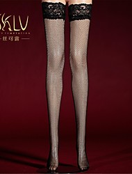 Women Nylon/Spandex Thin Lace Fishnet Stockings