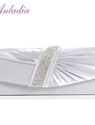 Anladia Ladies Satin Magnetic Snap Evening Wedding Clutch Bag Bridal Women Handbag Purse