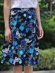Women's Multi-color Skirts , Vintage/Casual/Print/Work/Plus Sizes Knee-length