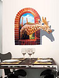 3d воздействие на окружающую среду жираф ПВХ стикер стены