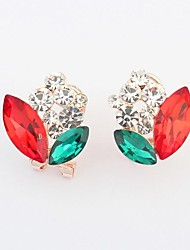 Women's Clearance Rhinestone Glass Floral Bud Needle Clip On Stud Earrings