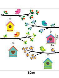 Cartoon Birds House PVC Wall Stickers