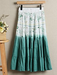 Sagetech®Women's Ethnic Print Long Pleated Skirt