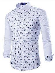 Men's Casual Print Long Sleeve Long T-Shirts (Cotton Blends)