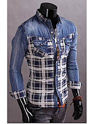 Men's Long Sleeve Denim Fabric Regular Shirt (Cotton)