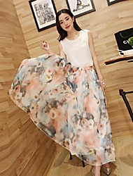 Women's Two-pieces Sleeveless Top and Elegant Chiffon Skirt Bohemia Long Floral Beach Dresses