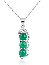 Halskette (Silber , Grün) - Smaragden