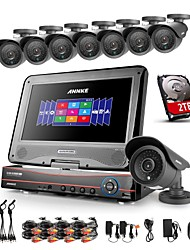 annke® 8ch ahd 960H dvr / hvr / NVR + 8 800tvl analogía 100ft ir corte sistema de cámaras de seguridad de la visión nocturna (HDD 2TB)