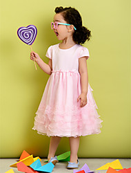 A-line Tea-length Flower Girl Dress - Polyester Short Sleeve