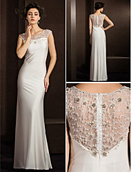 Sheath/Column Wedding Dress - Ivory Floor-length Jewel Stretch Satin