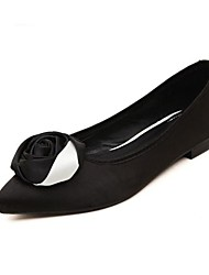 Flascher Absatz - Satin - FRAUEN Spitze Zehe - Flache Schuhe ( Schwarz )