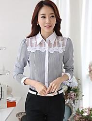 Mulheres Camisa Casual Simples Primavera,Listrado Colarinho de Camisa Manga Longa Média