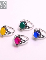 AS 925 Silver Jewelry  Color stone ring
