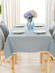 "Solid Blue Rectangular Table Cloth, Polyester 51""x70"", 55x78"", 55x94"""