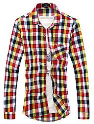 y&verificação simples camisa de manga longa dos homens c