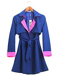 Magro contrato lapela casaco cor de trincheira das mulheres
