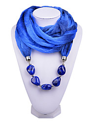 D Exceed   Women Vintage Infinity Ring Fashion Scarf with Dark  Sapphire Irregular Brush Painting Beads Pendant Scarfs