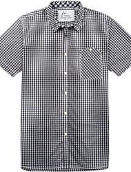 Men's Short Sleeve Shirt , Cotton Casual/Work/Formal/Sport/Plus Sizes Plaids & Checks