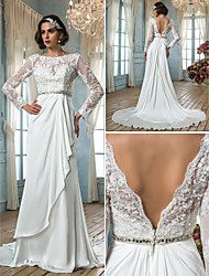 Lan Ting Sheath/Column Plus Sizes Wedding Dress - Ivory Sweep/Brush Train Jewel Satin Chiffon