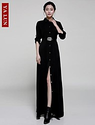 Yalun® Women's Single Breasted Long Casual Slim Sleeved Dress