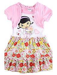 Girl's Dresses Short Sleeve Pink Dress for Girls Kids Floral Dress Children Dresses(Random Printed)