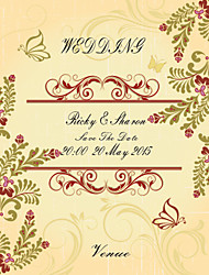 Personalized Wedding Invitations Leaf Pattern Save The Date Paper Card 15cm x 12.5cm 50pcs/Set