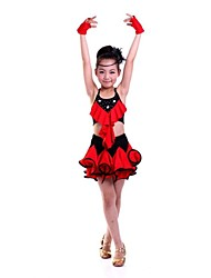 Latin Dance Children's Performance Polyester Flower Dresses(Blue/Fuchsia/Red/Yellow) Kids Dance Costumes