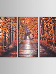 iarts маслом современный пейзаж красные деревья стены искусства набор 3 ручной росписью холст с растянутыми Frame
