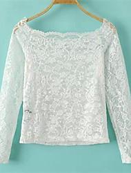 Damen Leopard Einfach Lässig/Alltäglich T-shirt,Bateau Frühling Langarm Rot / Weiß / Schwarz Polyester Dünn