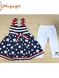 Girl's Summer Stripe Star Bow Design Doll Suspender Top + White Half Leggings(Cotton)