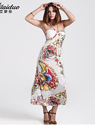 Women's Bohemia strapless Vintage/Sexy/Beach/Print/Cute/Maxi/Plus Sizes Micro-elastic Sleeveless Maxi Dress