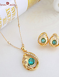 WesternRain Gold Plated Statement Emerald Charm Green rhinestone   Pendant&Necklace And Earring Fashion Jewelry Set