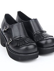 Black PU Leather 7CM Platform Sweet Lolita Shoes With Row