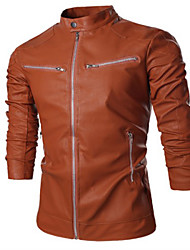 Martin Men's Fashion Solid Color Causal Coat Leather Clothing