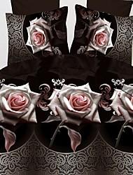 Mankani 3d stéréoscopique haute définition fleur impression de quatre pièces