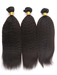 16Inch 100% Brazilian Virgin Hair Extension Kinky Straight Natural Color 100g/pcs 3pcs,Free Shipping